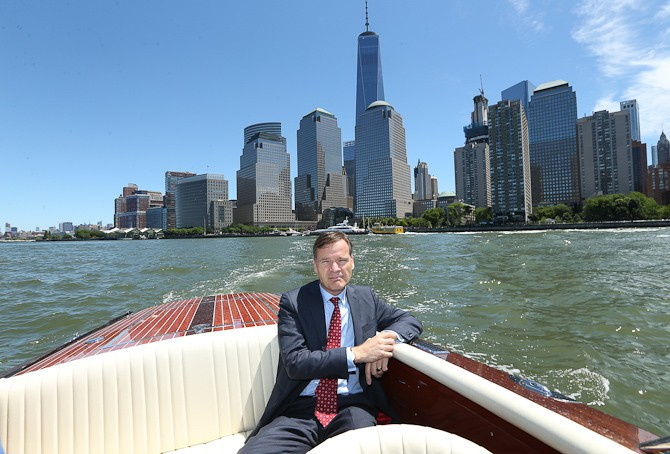 NEW YORK, NY - JUNE 14:  Peter Stas, Frederique Constant CEO, rides in a custom made Destino boat on the Hudson River during the Frederique Constant and Alpina Press Day & Cocktail Event on June 14, 2016 in New York City.  (Photo by Rob Kim/Getty Images for Frederique Constant)
