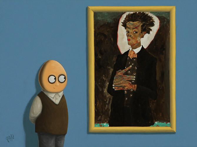 Meta - maleri af mand, der kigger på maleri.