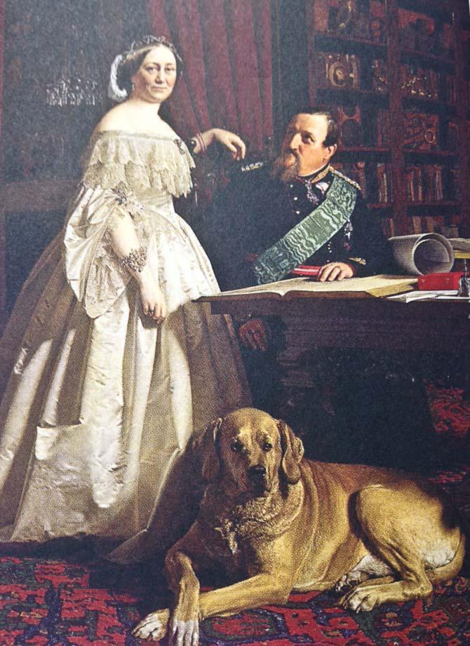 H.K.H. Kong Frederik den 7. med hustru og hund