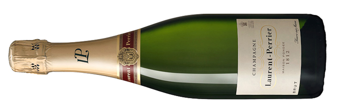 Aftenens hovedingrediens i glasset - Laurent-Perrier Brut.