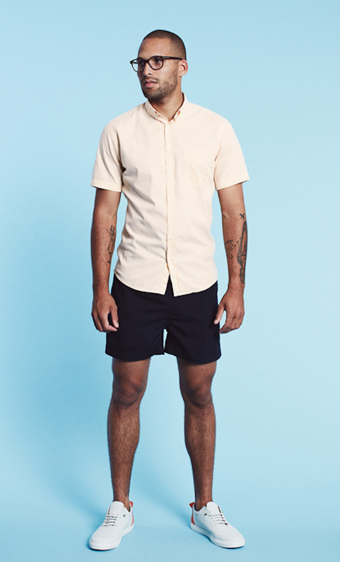 Les Deux shirt Henry peach 699kr swimwear shorts Johnny navy 499kr