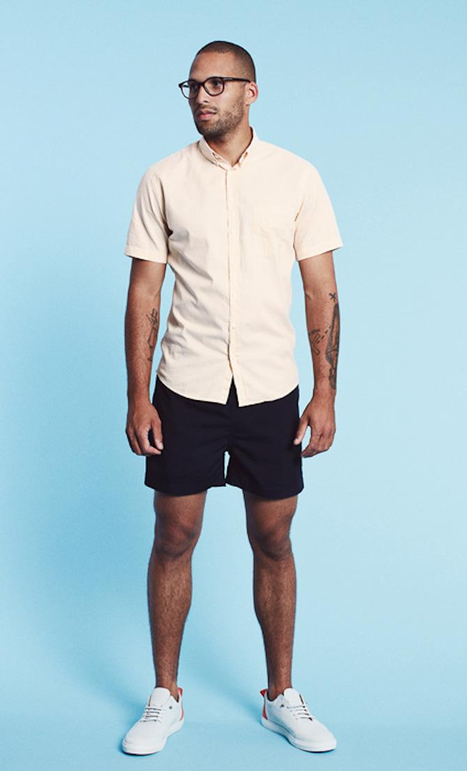Les Deux shirt Henry peach 699kr swimwear shorts Johnny navy 499kr
