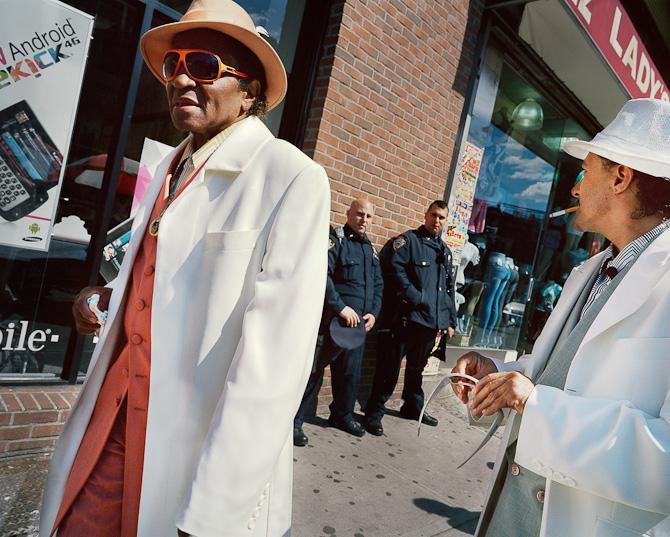 Cops and ex-pimps. Bedford-Stuyvesant, Brooklyn, New York. April 30, 2011.