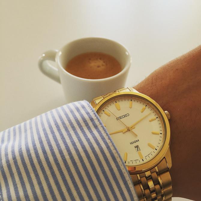 Martin D. Hussmann med kaffe og Seiko