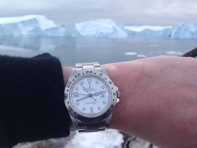 Thomas Below rejser ofte langt nordpå og har som oftest et passende Rolex Explorer med