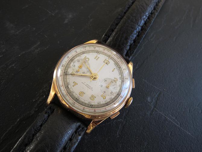 Den herlige vintage chrono i 18 karat guld blev fundet frem igen