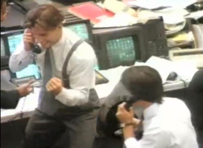Børsmæglere fra Wall Street anno 1989 - eller måske dig, der bliver ringet op, hvis du vinder...