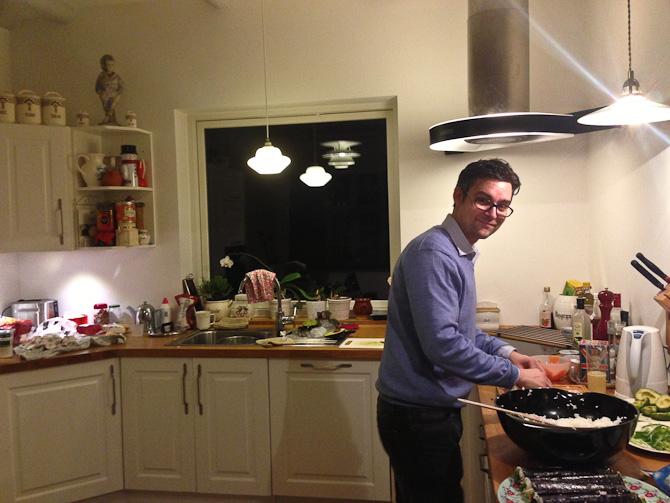 David bød på hjemmegjort sushi