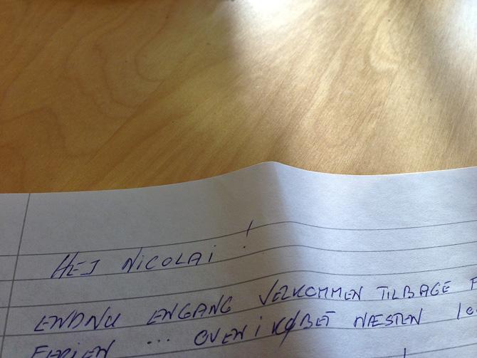 Jeg modtog et håndskrevet brev