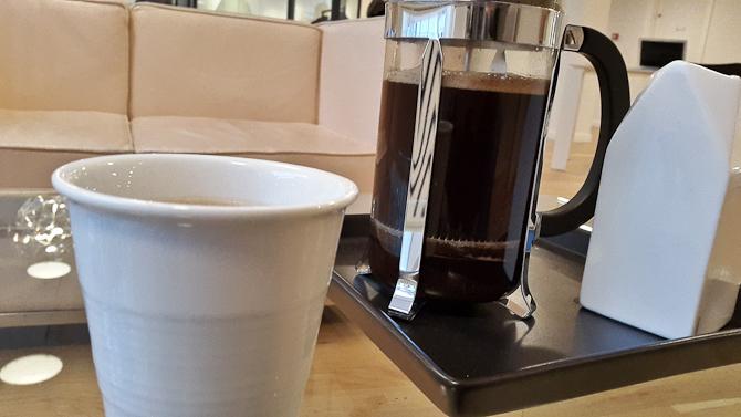 Vi fik kaffe i ventetiden