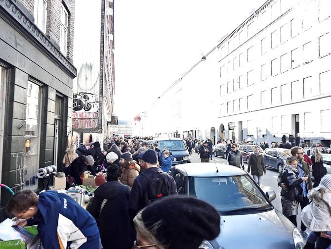 Der var loppemarked i gaden