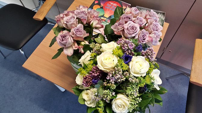 Vi fik fine blomster....