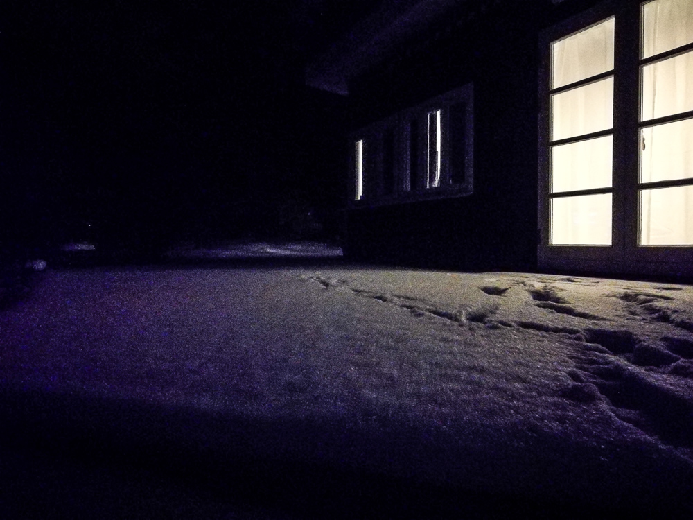 Snefald på terrassen