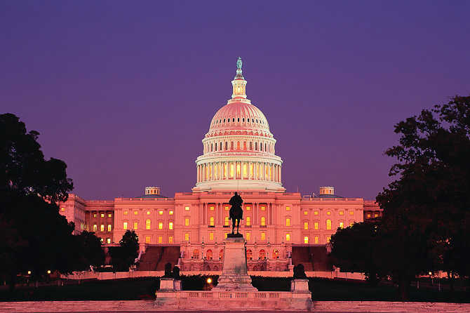 U.S. Capitol by night
