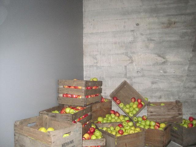 Æbleinstallation i et hjørne på vej mod herretoilettet.