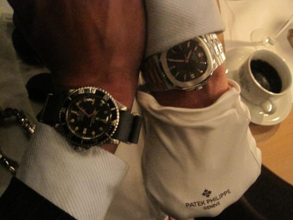 Fredagsekvipering a la Haagen. Til venstre en Rolex Seadweller anno 1978 og til højre en Patek Philippe Nautilus. Handsken var dog ikke en del af påklædningen.