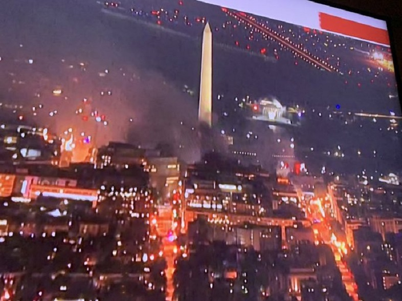 Washington DC on fire during Black Lives Matter rioting in summer of 2020