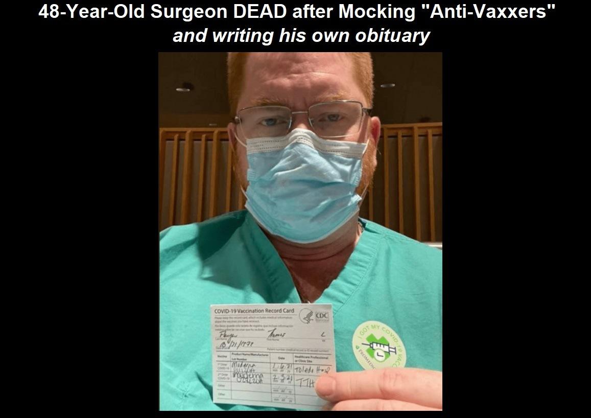 "Surgeon who mocked ""Anti-Vaxxxers"" DEAD from VAXXX | Daily Street News"