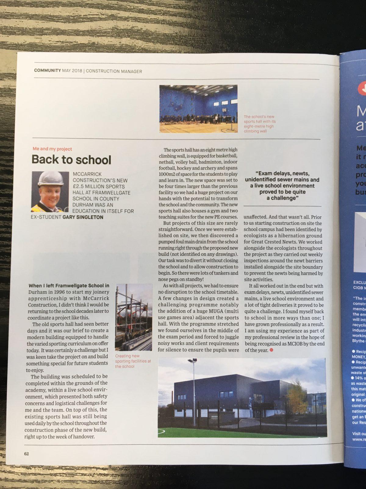 CIOB Magazine article by Gary Singleton
