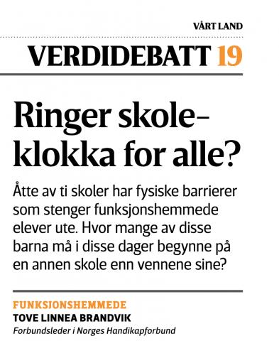 """Faksimile av Tove Linnea Brandviks debattinnlegg i Vårt Land med overskriften """"Ringer skoleklokka for alle?"""""""