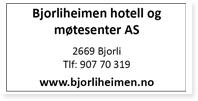 Annonse Bjorliheimen Hotell Og Motesenter AS