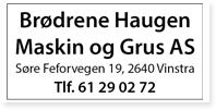 Annonse Brodrene Haugen Maskin Grus AS