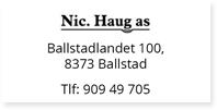 Annonse Nic Haug AS