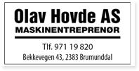 Annonse Olav Hovde AS Maskinentreprenor