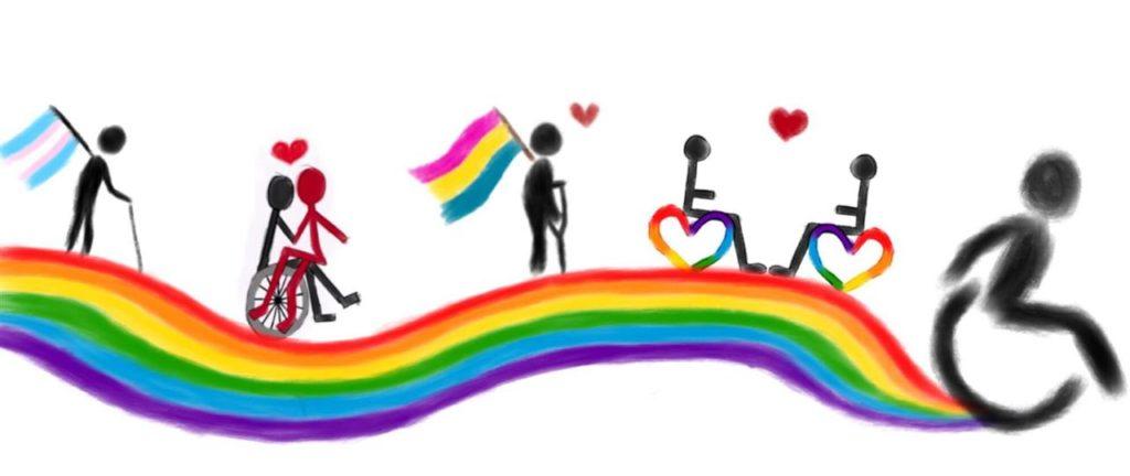 Tegning regnbue og handicapsymboler
