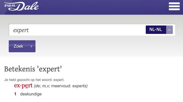 Definitie van een (SEO) expert in Van Dale woordenboek