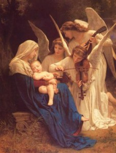 Englene synger for Maria og Jesusbarnet - maleri av William-Adolphe Bouguereau i 1881
