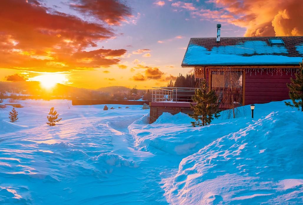 Hytte på Ølsjølitoppen - Solnedgang