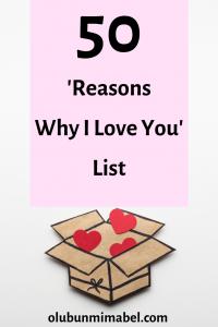 Reasons why I love you list