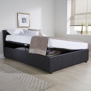 Black Faux Leather Ottoman Side Lift Bed Frame