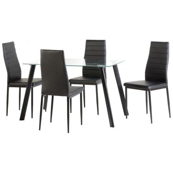Abbey Black Glass Dining Set