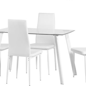 Abbey White Glass Dining Set