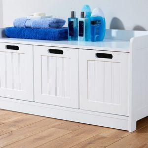 White Bathroom 3 Door Storage Bench