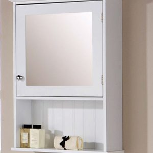 White Bathroom Mirrored Cabinet