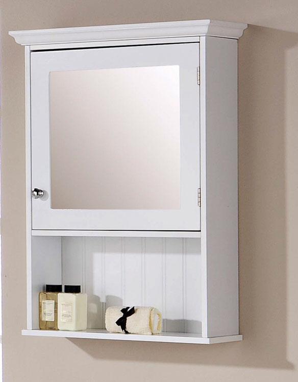 White Bathroom Mirrored Cabinet