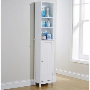 White Bathroom Tall Cupboard - Colonial Bathroom Furniture