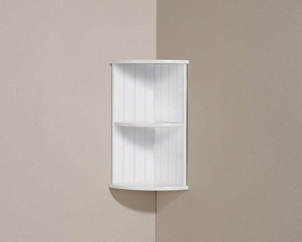 White Bathroom Corner Wall Shelf Unit - Colonial Bathroom Furniture