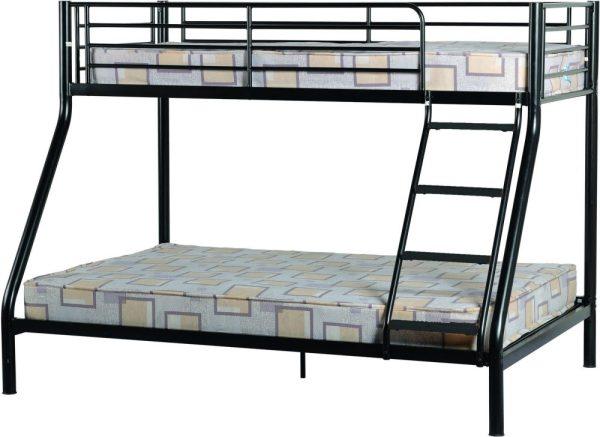 Black Triple Sleeper Metal Bunk Bed Frame
