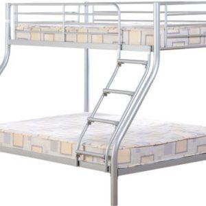Silver Triple Sleeper Metal Bunk Bed Frame