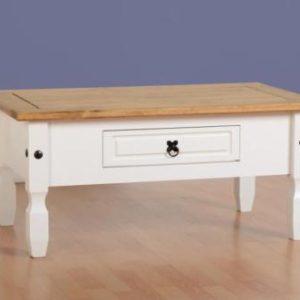 Corona White / Distressed Pine Coffee Table