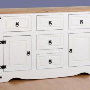 Corona White/Distressed Pine Sideboard 2 Door 5 Draw Sideboard