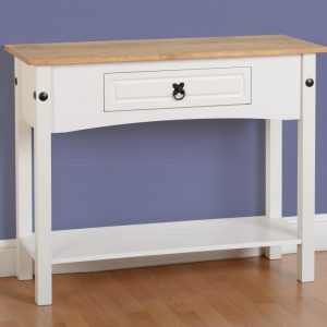 Corona White/Distressed Pine 1 Draw Console Table