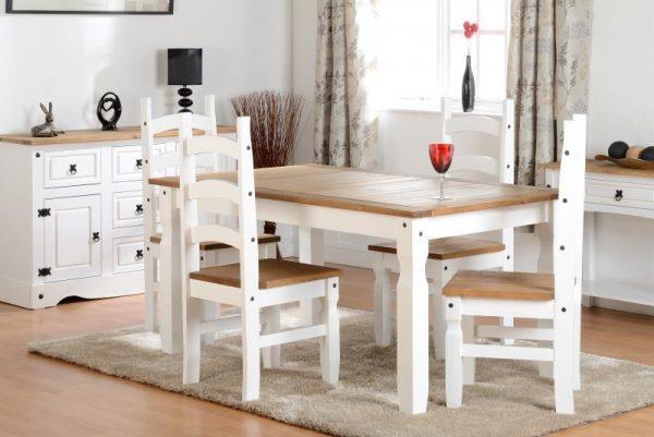 Corona White / Distressed Pine 4 Chair Dining Set