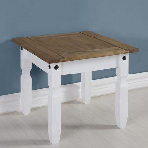 Corona White / Distressed Pine Lamp Table