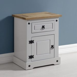 Corona Grey / Distressed Pine 1 Draw Bedside