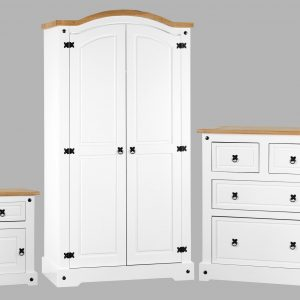 Corona White / Distressed Pine Bedroom Set